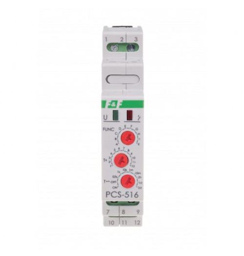 Multifunkcinė relė 10 funkcijų (12-264V AC/DC) su START/RESET kontaktais F&F PCS-516-UNI