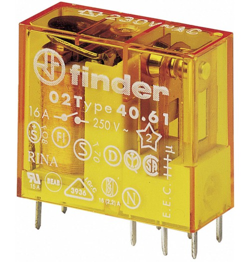 Elektromagnetinė relė FINDER 230V AC 1 poros kont. 40.61.8.230.0000