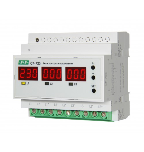 Įtampos kontrolės relė F&F CP-723 (3x63A)