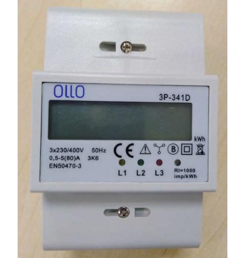 Modulinis elektros energijos skaitiklis OLLO 3P-341D 3F 5(80)A