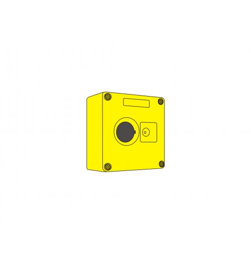 Valdymo posto dėžutė 1 vietos geltona Promfactor Baltic VALD-1Y