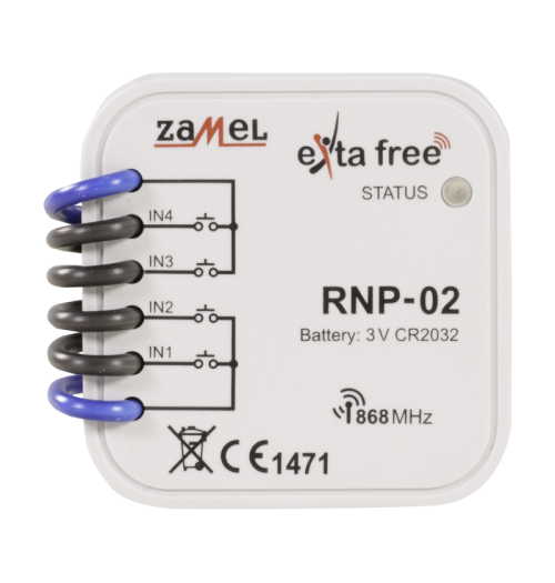 ZAMEL EXTA FREE signalo siųstuvas 4 kanalų (maitinimas iš elemento) RNP-02