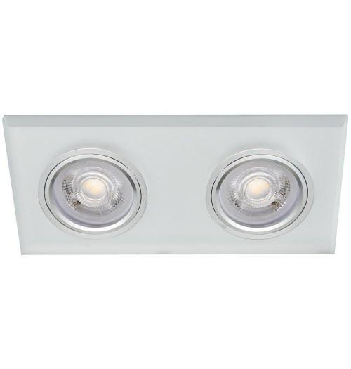 Įleidžiamas šviestuvas 2xGU10 GLASSO-2K-F šlifuotas baltas stiklas