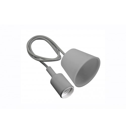 Silikoninis lempos lizdas su kabeliu GTV MINIO pilkas 1xE27