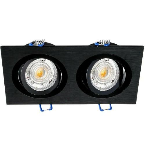 Įleidžiamas šviestuvas 2xGU10 JOTA K/2 šlifuotas juodas pagrindas / blizgus juodas žiedelis