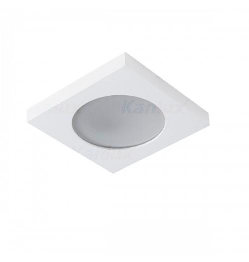 Įleidžiamas šviestuvas 1xGU10 Kanlux FLINI baltos sp., kvadratinis, IP44