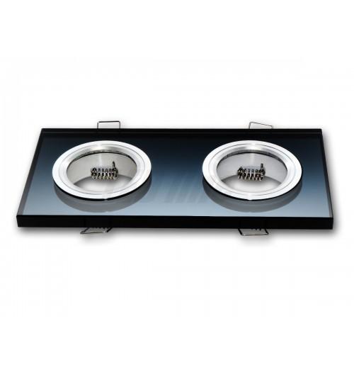Įleidžiamas šviestuvas 2xGU10 juodas stiklas 89x178x10 mm LEDLINE 246418