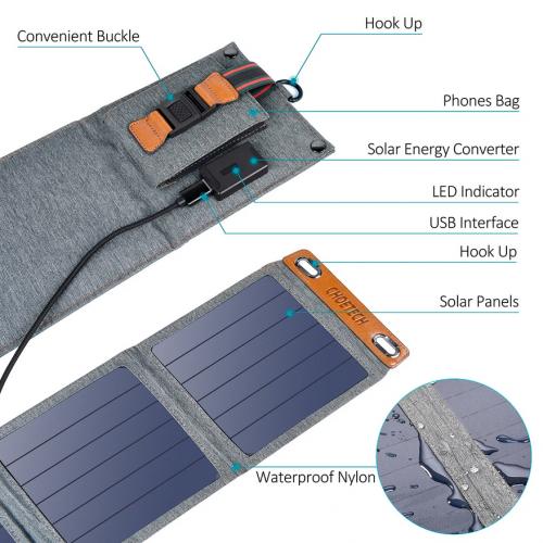 Saulės energija maitinamas kroviklis Choetech SC004, 1xUSB A, 5V, 2.1A