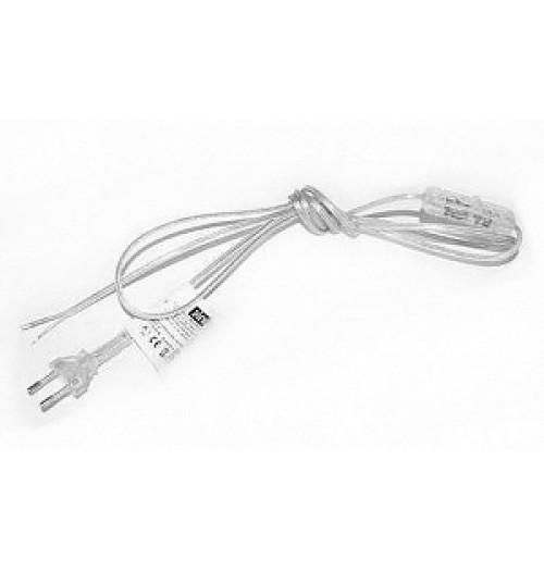 Tinklo kabelis su kištuku ir jungikliu 2x0.50 mm² 1,5 m skaidrus Zamel