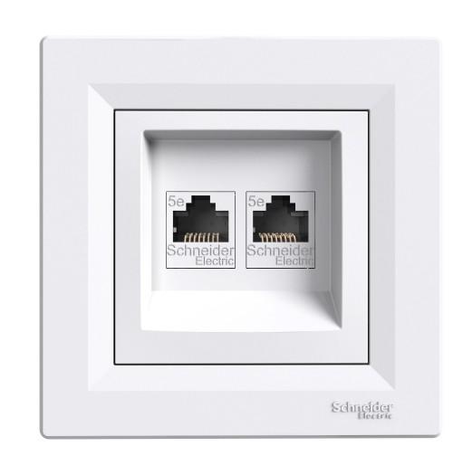 Kompiuterio lizdas 2 v. (2xRJ45 CAT5e UTP) Schneider Asfora baltas EPH4400121 (su rėmeliu)