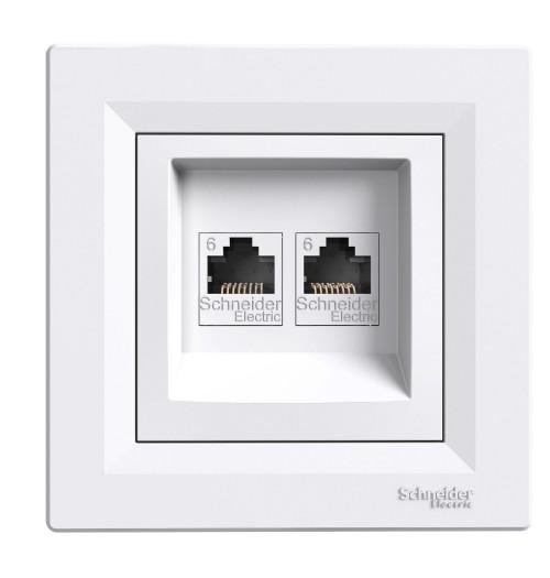 Kompiuterio lizdas 2 v. (2xRJ45 CAT6 UTP) Schneider Asfora baltas EPH4800121 (su rėmeliu)