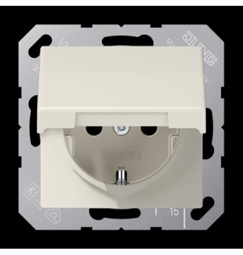 Kištukinis lizdas su įž. ir dangteliu Jung AS500 smėlio sp. A1520KL