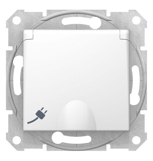 Kištukinis lizdas su įž. ir dangt. IP20 Schneider Sedna baltas SDN3100121