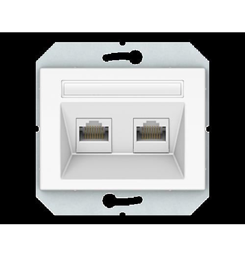 Kompiuterio lizdas 2 v. (2xRJ45 CAT5E UTP) KLRJ45-25e2-02 XP500 WW