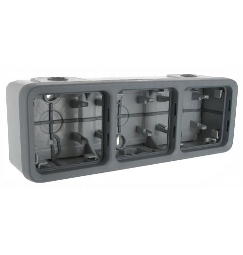 3 v. montažinė dėžutė (IP55) PLEXO, pilka sp.