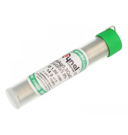 Bešvinis lydmetalis EVO Sn99/Ag0.3/Cu0.7 1.0mm 14g su fliusu Cynel