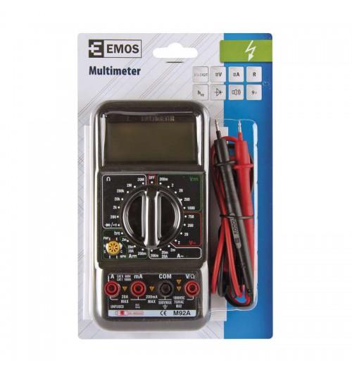 Multimetras EMOS M92A su tranzistorių tikrinimo, kint. srovės matavimo funkcija
