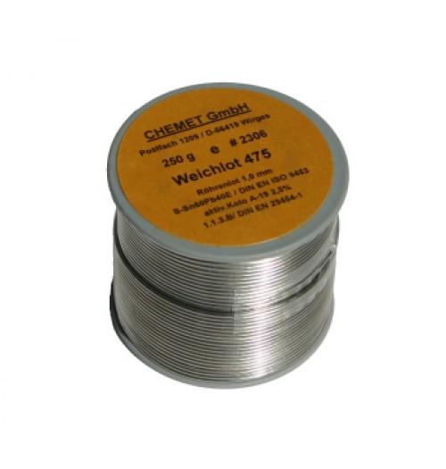 Lydmetalis Sn60/Pb40 1.0mm 250g su fliusu Chemet