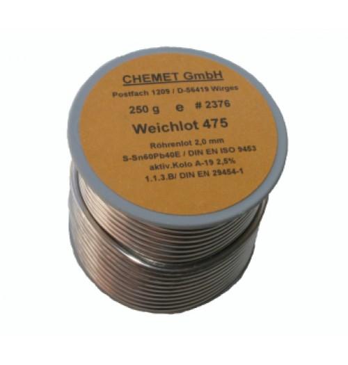 Lydmetalis Sn60/Pb40 2.0mm 250g su fliusu Chemet