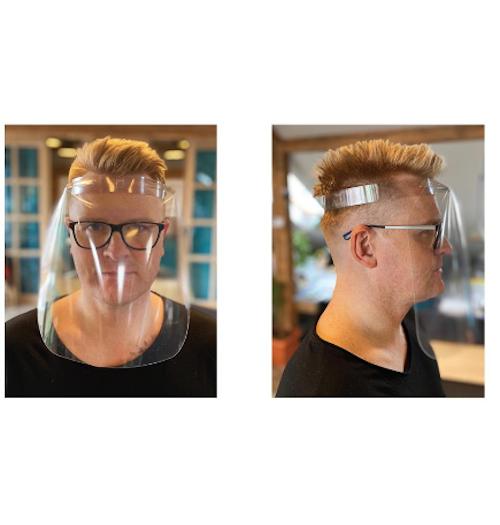 Apsauginis veido skydas (skaidrus plastikas, reguliuojama galvos apimtis)