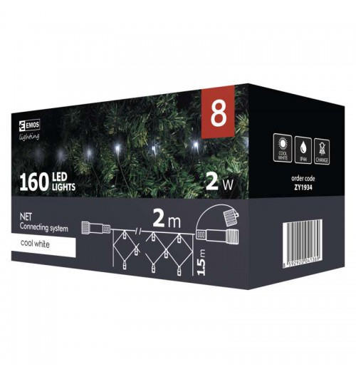 EMOS CONNECT girlianda - tinklas 160LED 2x1.5m IP44 šaltai balta ZY1934