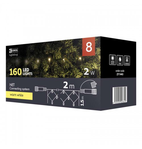 EMOS CONNECT girlianda - tinklas 160LED 2x1.5m IP44 šiltai balta ZY1443