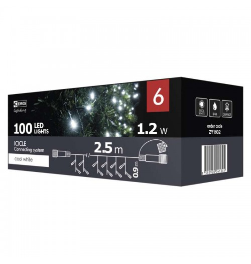 EMOS CONNECT girlianda - varvekliai 100LED 2.5m IP44 šaltai balta ZY1932