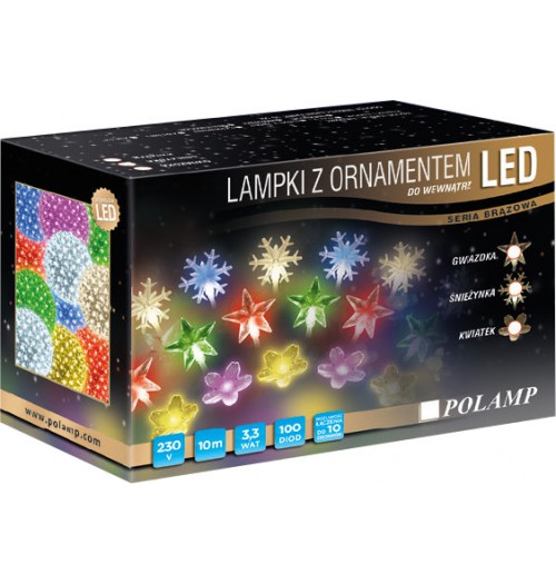 POLAMP girlianda - snaigės 100LED 10m IP44 šaltai balta