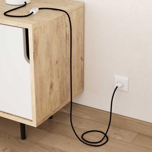 Šviestuvo kabelis medžiagine izoliacija 2x0.75mm² juodas, pintas