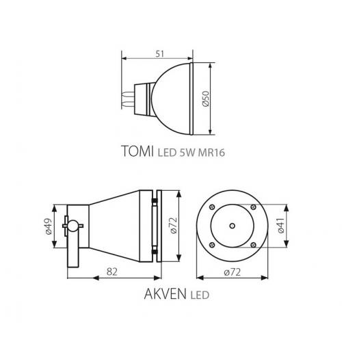 Lauko šviestuvas Kanlux AKVEN (komplekte su 12V 5W LED lempute)