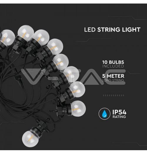 Lauko girlianda 10 x G45 0.4W LED, 3000K, 5+5m