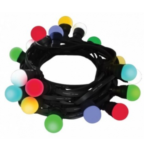 Sodo girlianda THORGEON, 10m, 20xE27, juodas guminis kabelis