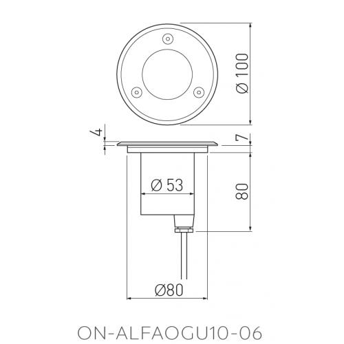 Grindinio šviestuvas GTV ALFA Mini 1xGU10 IP67 m. chromo sp. apvalus
