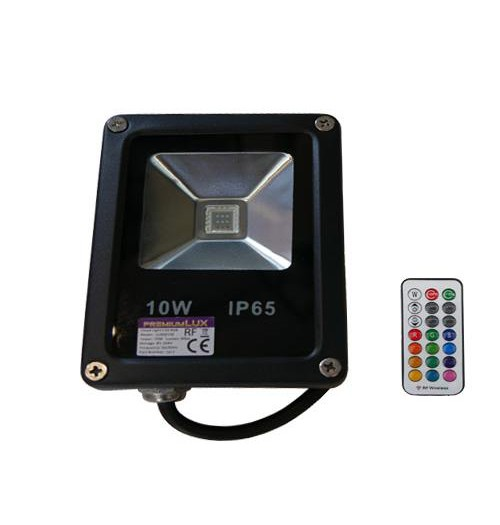 Prožektorius RGB LED Premium Lux 10W su RF pulteliu