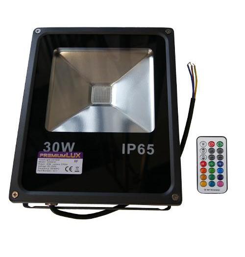Prožektorius RGB LED Premium Lux 30W su RF pulteliu