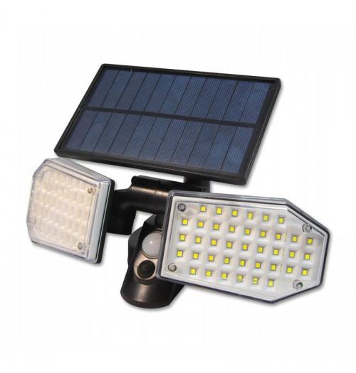 Saulės energija pakraunamas LED prožektorius, 15W, 5500K, 450lm, IP65, su jud. davikliu