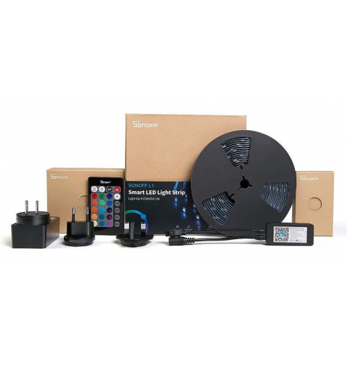 Sonoff L1 LED RGB juostos komplektas, 2 m (valdoma Wi-Fi/balsu, pridėtu RF pulteliu)