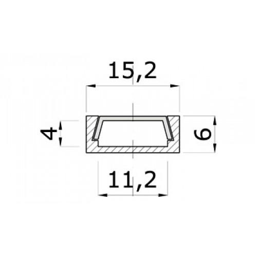 Profilis LED juostoms anoduotas SR15, 1 m