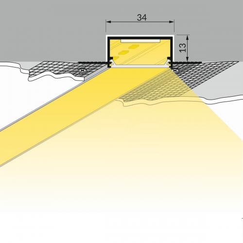 Priglaistomas profilis LED juostoms neanoduotas VARIO30-04, 2 m