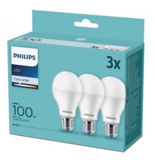 Lempučių rinkinys PHILIPS E27 A60 14W 4000K 1521lm 3PACK