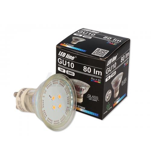 Lemputė LEDLINE GU10 1W 2700K 80lm stiklinė