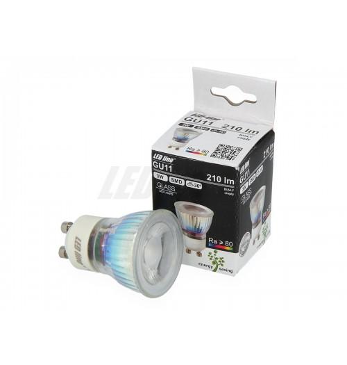 Lemputė LEDLINE GU10 3W 6000K stiklinė