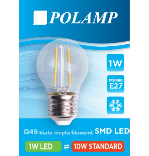 Lemputė girliandoms E27 LED, G45, 1W, 2700K (šilta balta spalva), stiklinė, Polamp