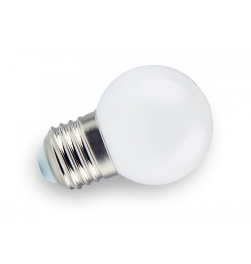 Lemputė girliandoms E27 LED, G45, 1W, 3000K (šilta balta), plastikinė, LEDOM