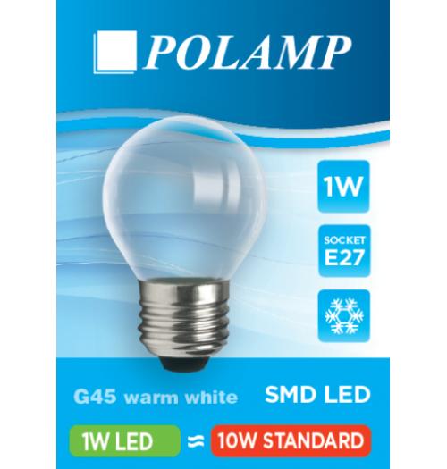 Lemputė girliandoms E27 LED, G45, 1W, 2700K (šilta balta), plastikinė, POLAMP