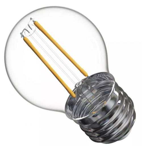 Lemputė girliandoms E27 LED, G45, 2W, 2700K (šilta balta spalva), stiklinė, EMOS
