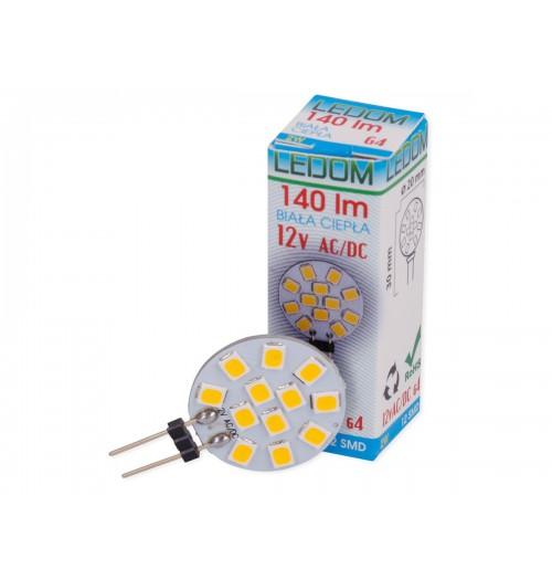 Lemputė LEDLINE LED G4 2W 3000K 140lm plokščia (12V AC/DC)