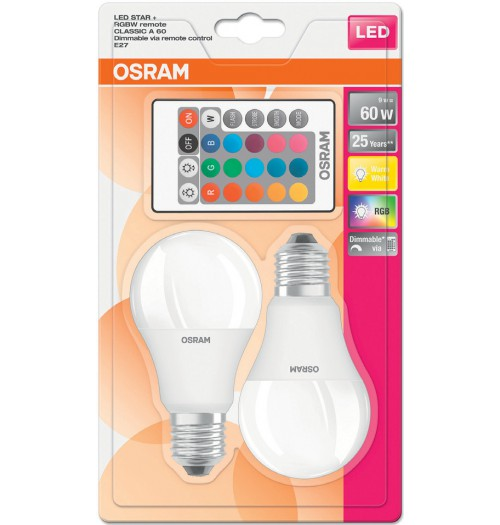Lemputė OSRAM LED STAR E27 A60 9W RGB+WW (2 vnt. rinkinys)