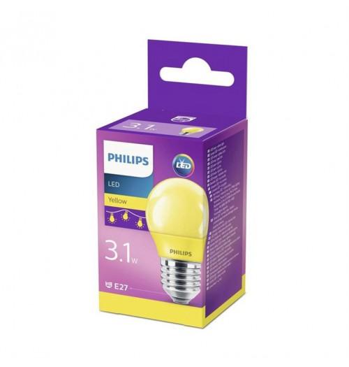 Lemputė LED E27 G45 3.1W geltona Philips