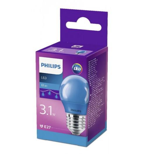 Lemputė LED E27 G45 3.1W mėlyna Philips